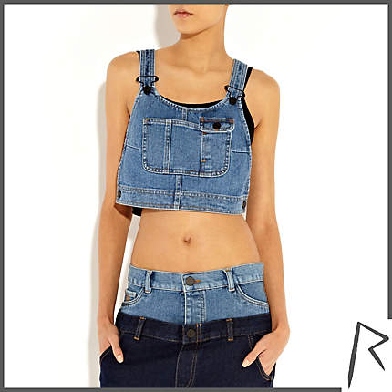 Rihanna for River Island MID WASH RIHANNA DENIM DUNGAREE CROP TOP