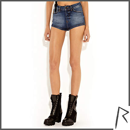 Rihanna for River Island MID WASH RIHANNA ZIP BACK DENIM SHORTS
