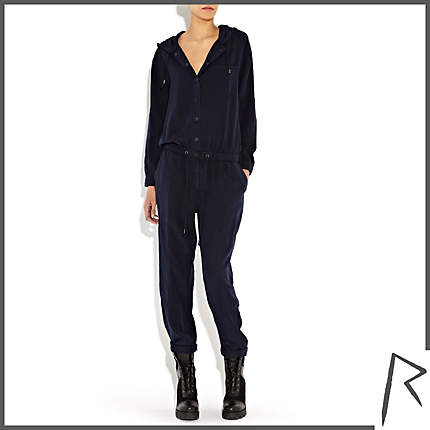 Rihanna for River Island NAVY RIHANNA HOODED UTILITY JUMPSUIT