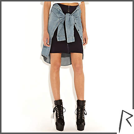 Rihanna for River Island NAVY RIHANNA TIED DENIM SHIRT ZIP FRONT SKIRT