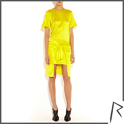 Rihanna for River Island YELLOW RIHANNA TIED T-SHIRT DRESS