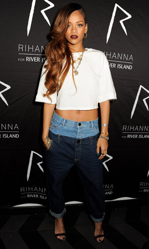 Rihanna in Rihanna for River Island white crop top and DARK WASH RIHANNA DOUBLE TOP STRAIGHT JEANS