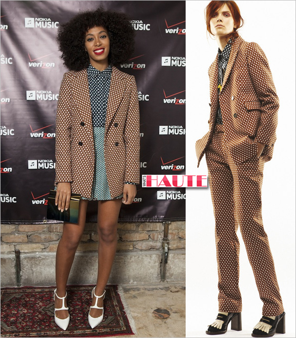 Solange Knowles wears a blazer, shirt and shorts from the MARNI WINTER EDITION 2013 collection