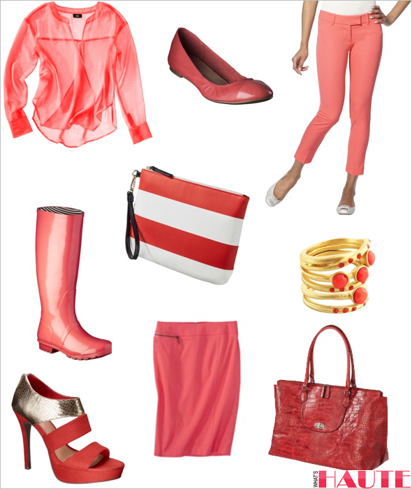 Target coral fashion and accessories