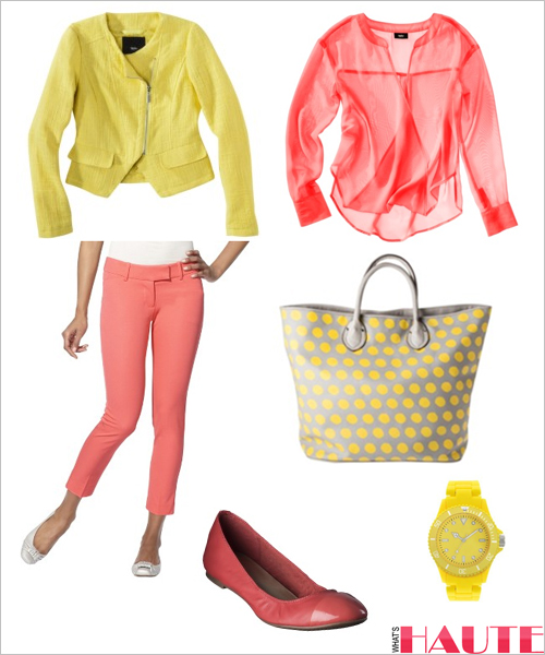 Target yellow and coral look