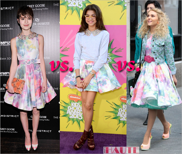 Who wore it better / rocked it hotter: Sami Gayle, Zendaya Coleman or AnnaSophia Robb in an Alice + Olivia Lollie Belted Embellished Collar Dress