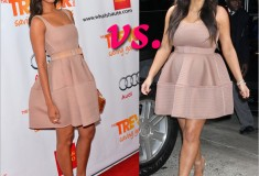 Who rocked it hotter: Zoe Saldana vs. Kim Kardashian in a Lanvin beige dress with puffed skirt