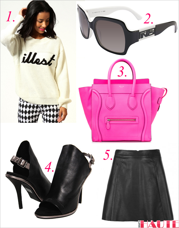 Get the look: boohoo Evie 'Illest' Print Jumper, Celine Leather Mini Luggage Shopper Bag in pink, AllSaints Sens Leather Skirt, Kelsi Dagger Cameo Slingback Sandals, Fendi Sunglasses FS 5032