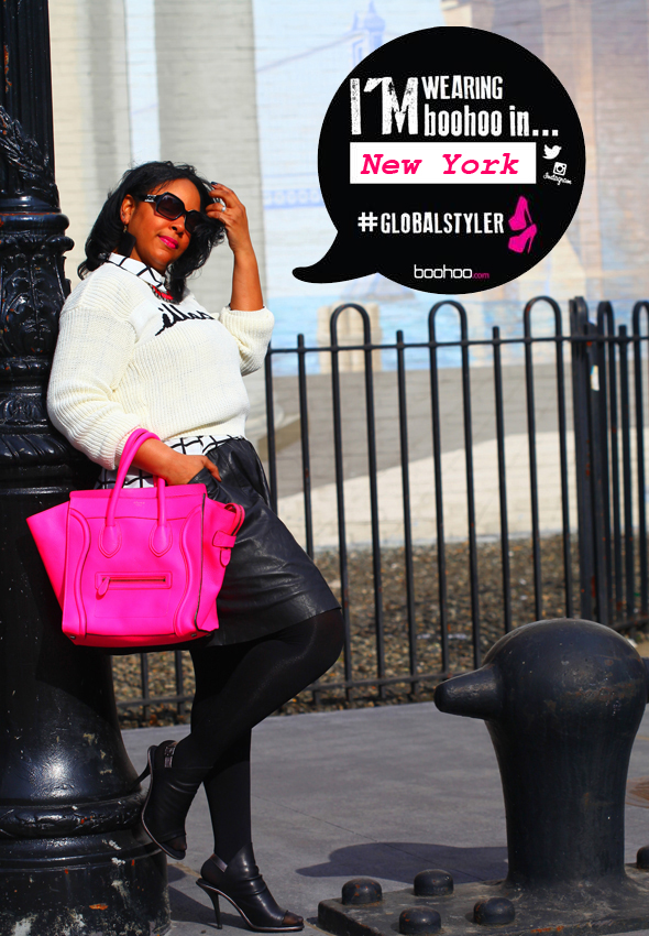 boohoo #GlobalStyler in New York - My style: boohoo 'Illest' sweater, Forever 21 grid print blouse, H&M neon pink necklace, Muubaa leather skirt, Celine Leather Luggage tote in fluro pink, Hue opaque tights, Kelsi Dagger Cameo Slingback Sandals, black and white Fendi Sunglasses FS 5032