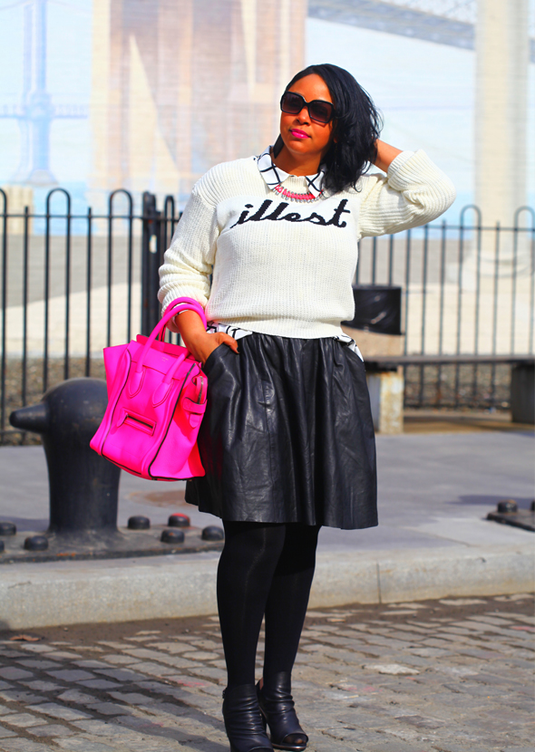 My style: boohoo 'Illest' sweater, Forever 21 grid print blouse, H&M neon pink necklace, Muubaa leather skirt, Celine Leather Luggage tote in fluro pink, Hue opaque tights, Kelsi Dagger Cameo Slingback Sandals, black and white Fendi Sunglasses FS 5032