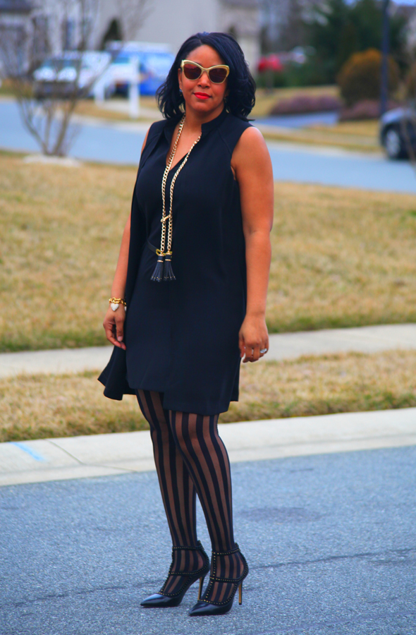 Muse Faux Jacket Dress, Zara fringe belt (worn as necklace), J.Crew Pave heart bracelet, Victoria's Secret striped tights and BCBGMAXAZRIA Liza studded T-strap pumps