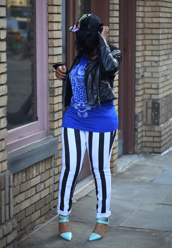 My style: Burglar stripes & blues - Bagatelle leather jacket, Pierre Balmain Sleeveless t-shirt, Hybrid striped jeans, Alexander Wang Rocco studded duffel bag, Skin Ark Bar Pumps, Target Floral Baseball cap