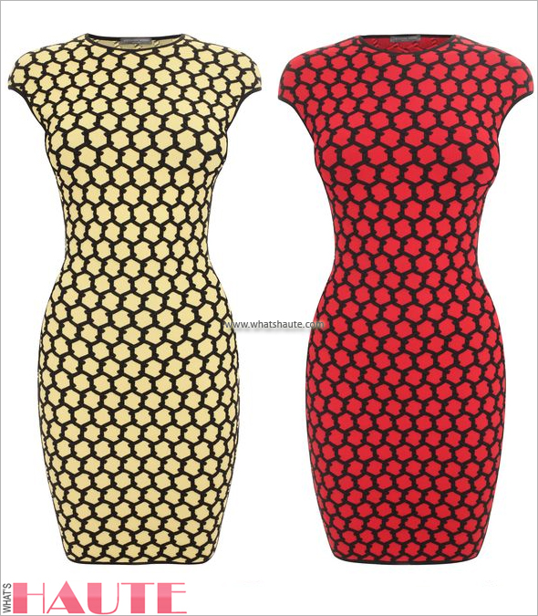 Alexander McQueen Pale Yellow/Black & Red/Black 3D Honeycomb Mesh Jacquard Mini-Dress
