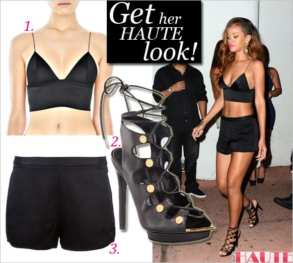 d4596fd00d Get her haute look  Rihanna in an Alexander Wang bralette   crepe shorts