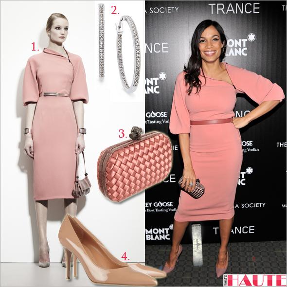 "Get her haute look: Rosario Dawson in Bottega Veneta at the premiere of ""Trance"""