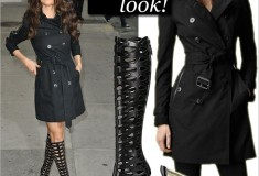 Get her haute look: Selena Gomez in a Burberry Trench Coat and Brian Atwood Electra Knee-High Boots