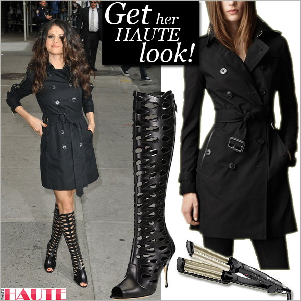 Get her haute look: Selena Gomez in a Burberry trench and Brian Atwood Electra Knee-High Boots + Conair S7 Flat Iron, You Wave Ultra
