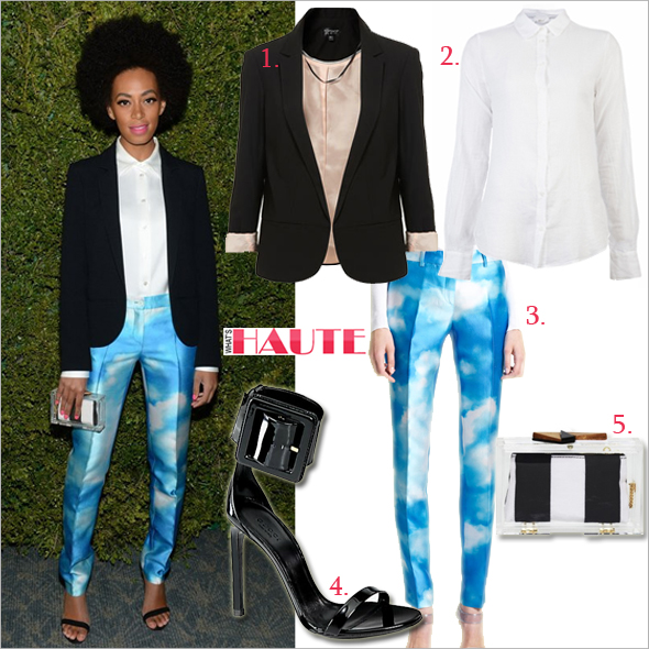 Get her haute look: Solange Knowles in Michael Kors 'Samantha' Digital Cloud Print Skinny Shantung Pants and Alice + Olivia Lucite Box Clutch