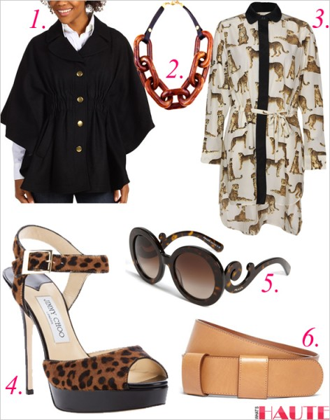 Get the look: Prada 'Baroque' Round Sunglasses, Sam Animal Print Dip Back Shirt Dress, Hilary Radley Studio - Capelet 60/40 Wool, Brooks Brothers Calfskin Double Loop Belt, Jimmy Choo leopard print sandals, Ben-Amun Brown Resin Link Necklace with Leather Strap
