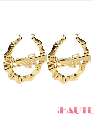 Melody Ehsani x Jeremy Scott m.e. x j.s. m16 bamboo earrings