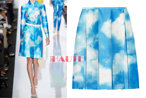 Michael Kors Digital cloud-print wool and silk-blend skirt