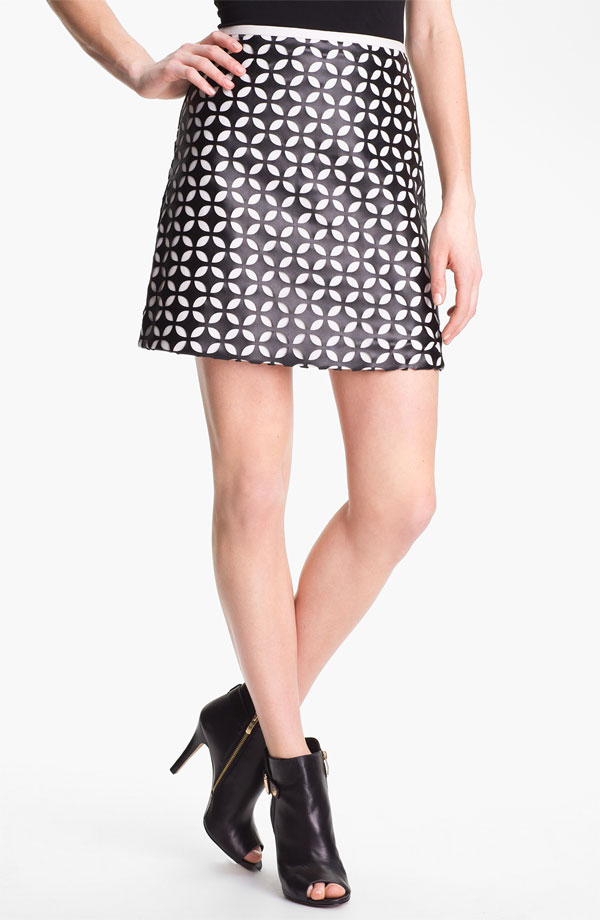 Vince Camuto Mod Cutout Faux Leather Skirt