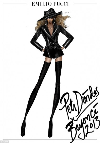 Beyonce tour costumes Pucci sketch