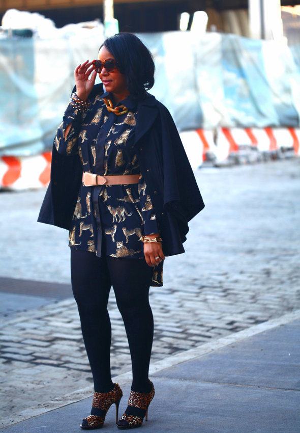My style: Leopard on leopard Prada 'Baroque' Round Sunglasses, Hilary Radley Studio - Capelet, Leopard shirt dress c/o Boohoo.com, Maison Martin Margiela For H&M belt, Hue tights, Jimmy Choo 'Private' Leopard Sandals