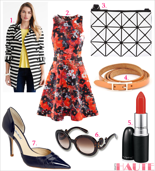 Get the look: Spring florals & stripes (BR Monogram striped trench, H&M floral Dress, MAC Lipstick in Chili, Charles by Charles David 'Galactic' Pump, BAO BAO ISSEY MIYAKE panel shoulder bag, Prada Baroque round sunglasses, Hermes Hapi wrap bracelet)