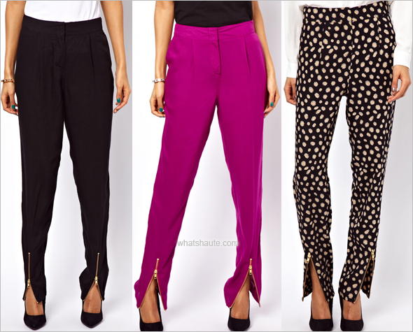 ASOS Peg Pants in black, magenta and daisy with Zip Detail