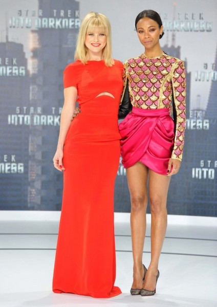 Alice Eve and Zoe Saldana attend 'Star Trek - Into Darkness' German Premiere at China Club in Berlin