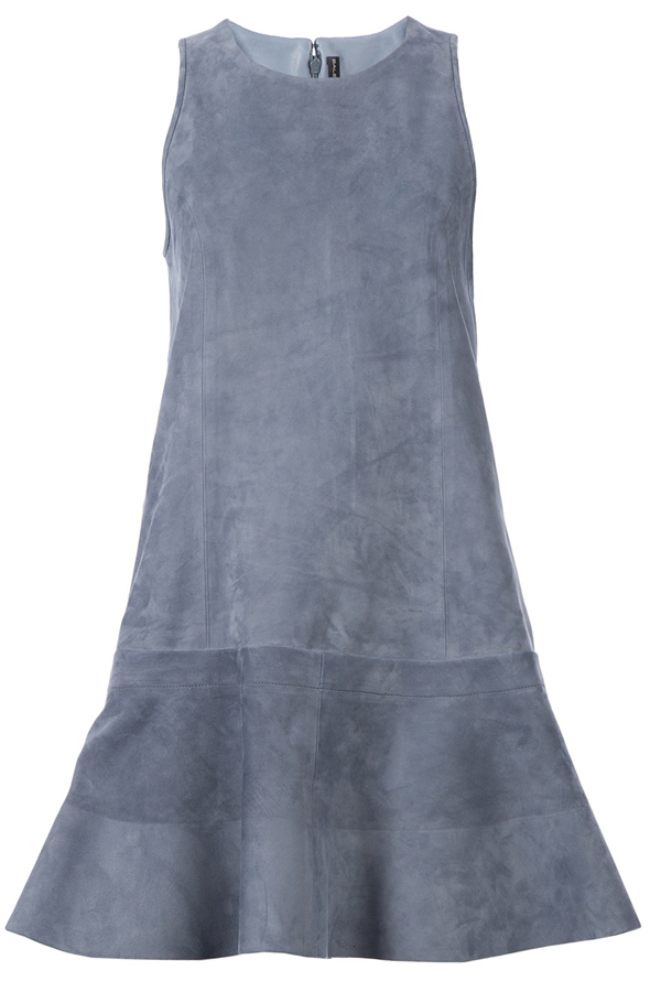 Balenciaga gray suede flared dress