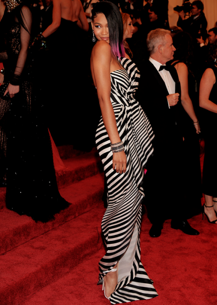 Chanel Iman in a J.Mendel Organza Stripe Gown at the Met Gala