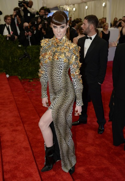 Coco Rocha in Emanuel Ungaro by Fausto Puglisi leopard print gown embellished with gilded ornaments from the Fall-Winter 2013/2014 collection
