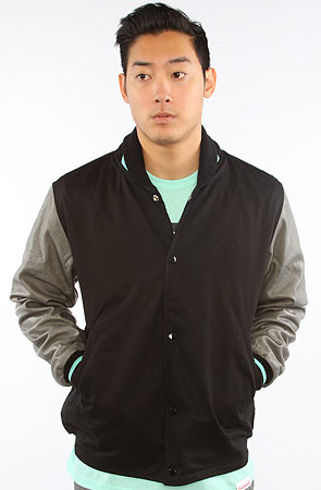 Diamond Supply Co. The Brilliant Twill Varsity Jacket in Black, Gray, & Diamond Blue