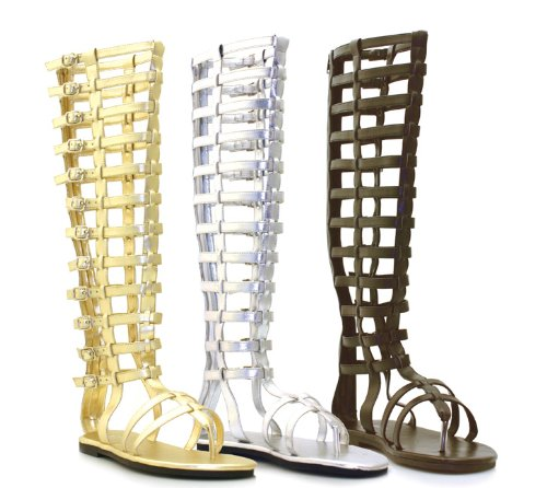 ELLIE 120-MAX Knee-High Multistrap Women's Flat Sandal with Zipper