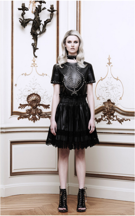 GIVENCHY Embellished Leather Tee and GIVENCHY Leather And Lace Pleated Skirt