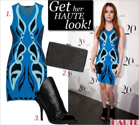 Get her haute look: Emma Roberts in an Ohne Titel Exclusive Jacquard Jersey Dress from the Intermix 20th Anniversary Capsule Collection