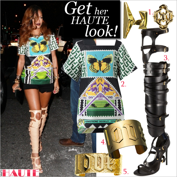 Get her haute look: Rihanna in Mary Katranzou Stamp Printed Hessian Tunic Top, Tom Ford Strappy Buckled Sandal Boot, Givenchy Antigona Madonna-Print Large Shopper Bag and Jennifer Fisher jewelry