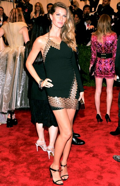 Gisele Bundchen in Anthony Vaccarello Bonded Crepe and Macrame One Sleeve Halter Dress at the Met Gala