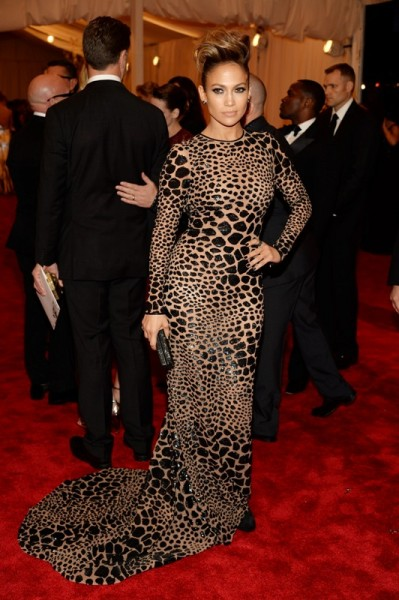 Jennifer Lopez in a custom black leopard sequin-embroidered gown by Michael Kors