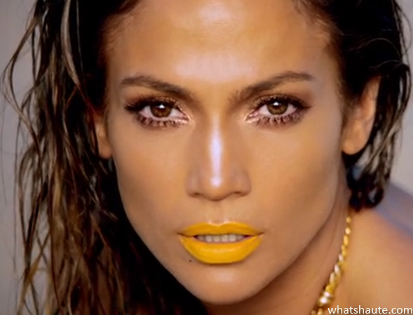 "Jennifer Lopez yellow lipstick in ""Live It Up"" video featuring Pitbull"