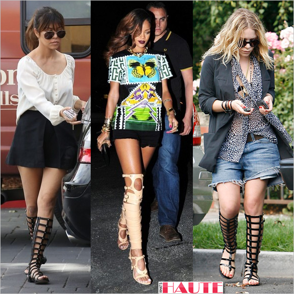 Kourtney Kardashian & Rihanna in Stuart Weitzman gladiator sandals and Mary-Kate Olsen in knee high Chanel Gladiator sandals