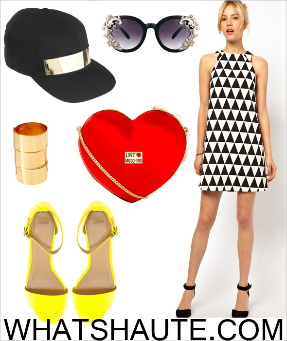 Weekend outfit inspiration: ASOS Shift Dress In Triangle Jacquard, ASOS Front Plate Cap, ASOS Round Sunglasses With Filigree Corner Detail, ASOS Adjustable Pack of Three Plain Band Rings, Love Moschino Heart Clutch Bag, ASOS HEDLEY Heeled Sandals