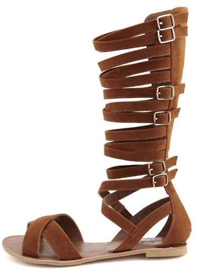 Charlotte Russe SUEDED KNEE-HIGH GLADIATOR SANDAL