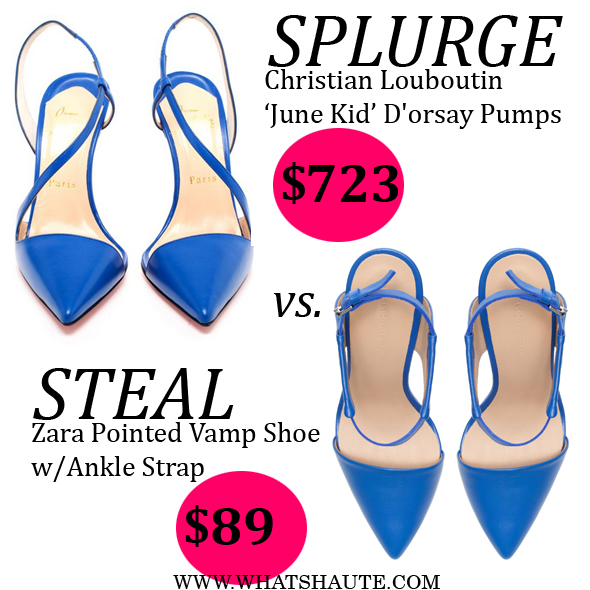 Splurge or Steal: Christian Louboutin June Kid Leather D'orsay Leather Pumps vs. Zara Pointed Vamp Shoe with Ankle Strap