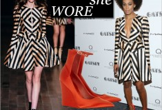 What she wore: Solange Knowles in a Jill Stuart stripe dress and Burberry Prorsum Silk-satin wedge pumps