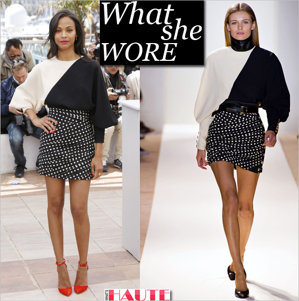 What she wore: Zoe Saldana in black and white Emanuel Ungaro Fall 2013 and Oscar Tiye red open pumps with ankle strap