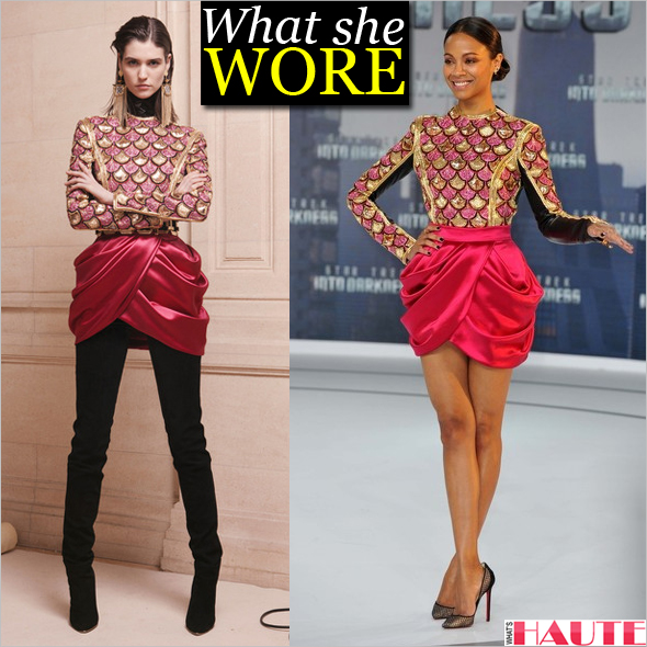What she wore: Zoe Saldana in Balmain Pre-Fall 2013 and Christian Louboutin Pigaresille Lace & Suede Pumps