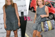 Who rocked it hotter: Jennifer Aniston vs. Kate Moss in Balenciaga's Flared Suede Dress